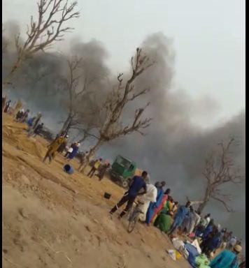 جانب من الحريق الذي أتى على ممتلكات عدد من التجار الموريتانيين