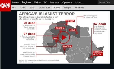 خريطة نشرها موقع قناة سي ان أن حول التهديدات  التي يشكلها الإرهاب في إفريقيا