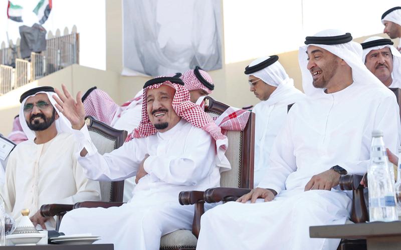 الملك سلمان ومحمد بن زايد ومحمد بن راشد